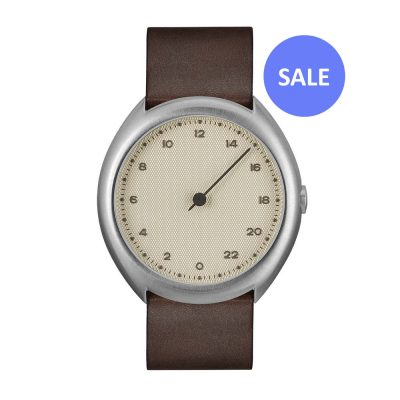 slow O 06 - silver Swiss 24 hour one hand wrist watch, stainless steel case, dark brown leather band - Front_SALE