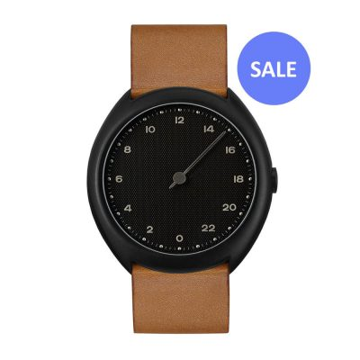 slow O 11 - black Swiss 24 hour one hand wrist watch, stainless steel case, brown leather band - Front - Sale